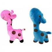 atorakushon Giraffe Teddy Soft Teddy Couple Birthday Gift Multicolor Cute Soft Toys Pack of 2 (25 cm)
