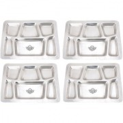 Taluka (15.7 x 11.9 in approx) Pure Stainless Steel 6 in 1 Compartment Plate Thali Bhojan Thali Steel Plate Set OF 4