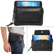 6.0 inch and Below Universal Genuine Leather Men Horizontal Style Case Waist Bag with Belt Hole For iPhone Samsung Sony Huawei Meizu Lenovo ASUS Oneplus Xiaomi Cubot Ulefone Letv DOOGEE Vkworld and other (Black)