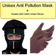 Anti-Pollution Mask + Double Cloth Cotton Unisex Gloves + Free 1 Alluma Wallet CODEPz-0305