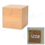 moderno USB / 4 x AAA de madera azul LED despertador con pantalla de temperatura - color de madera