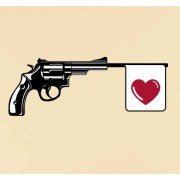 TenStickers Muursticker revolver met hartje