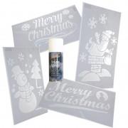 Bellatio Decorations Kerst raamsjablonen/raamdecoraties set 4 stuks met sneeuwspray