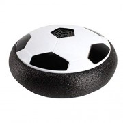 HATCHMATIC 18CM Funny LED Light Flashing Ball Air Power Football Toys Boy Home Game Disc Gliding Soccer Stress Indoor Balls Kid Boy Gift: Black with Music