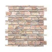 Mozaic marmura Rossoverona MOS Brick 220 Uni rosu mat 30,5x30,5 cm