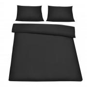[neu.haus] Set Juego de cama 200x200cm negro + funda de almohada + funda