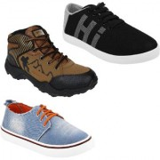 Chevit Men's Trio COMBO Pack Of 3 Training Shoes with Sneakers