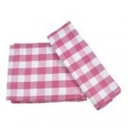 Prosop de bucatarie bumbac set 6 prosoape superabsorbant dreptunghiular 68 x 56 cm carouri Tiseco roz-alb