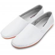 Zapatos De Cuero Hombres Trabajo Manual Leather Shoes-Blanco
