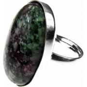 Inel argint reglabil masiv cu rubin zoisit 25x18 MM GlamBazaar Reglabila cu Rubin zoisit Verde tip inel reglabil de argint 925 cu