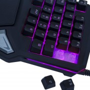 Delux T9 PRO 7 Colores Retroiluminación LED Teclado De Juego Profesional De Una Mano - Negro