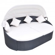 vidaXL Шезлонг-легло с балдахин, полиратан, черен