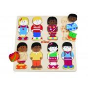 Puzzle din lemn pentru copii Micii Prieteni Tidlo, 27 x 27 x 1 cm, 3 - 6 ani