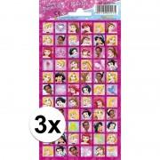 Disney 3x Stickersetje prinsessen gezichten