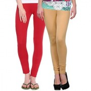 Stylobby Red And Beige Kids Legging Pack Of 2