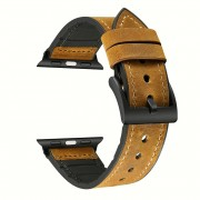 Genuine Leather + Silicone Wrist Watch Strap Replacement for Apple Watch Series 5 4 40mm / Series 3 2 1 38mm - Brown