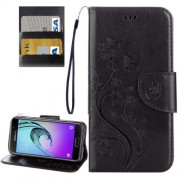 Samsung Galaxy A5 Case, (2017) / A520 Butterflies Love Flowers Embossing Horizontal Flip Leather Case with Holder & Card Slots & Wallet & Lanyard Small Quantity Recommended Before Samsung Galaxy A5 Case, (2017) / A520 Launching(Black)