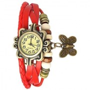 Red Leather Analog Watches For Women by 7star
