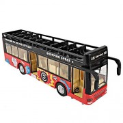 Sajani Kid's Metal Die-Cast Luxury Pull Back Double Decker London Bus (with Light and Music), 2 Years(Multi Colour- Colour May Vary)