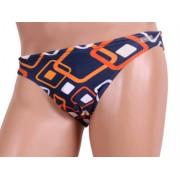 Jolidon Оригинальные мужские плавки слипы синего цвета с оранжевым принтом Jolidon Uomo B1I_S