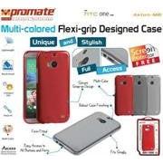 Promate Akton-M8 Multi-colored flexi-grip designed case for HTC One M8 Colour:Red
