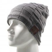 Grid Pattern Knitted Winter Warm Hat Cap Built-in Wireless Bluetooth Headphone & Microphone - Dark Grey
