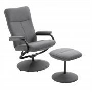 CARO-Möbel Relaxsessel DAKOTA mit Hocker in grau