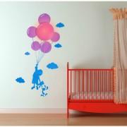 Samolepka a světlo na zeď Dítě s balonky