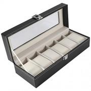 OKBY Watch Box-1Pc Caja de Cuero de PU de 6 Ranuras de Alto Grado para Reloj Organizador de Almacenamiento de exhibición de joyería Caliente