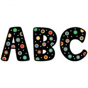 Creative Teaching Press 2-Inch Uppercase Letter Stickers Dots on Black (4190)