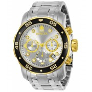 Invicta Watches Invicta Mens Pro Diver Scuba Swiss Chronograph Silver Dial Stainless Steel Bracelet Watch 80040 SilverSilver