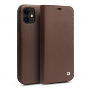 QIALINO Classic Top Cowhide Leather Cover Phone Case for iPhone 11 6.1 inch - Coffee