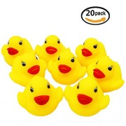 Bombom Tree 20pcs/lot Mini Yellow Rubber Bath Ducks for Child,1.5inch Rubber Duck Bath Toy Baby Shower Birthday Party Favors