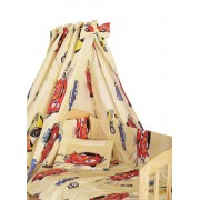 Lenjerie cu baldachin, 5 piese, masinute mari galbene, 120 x 60 cm