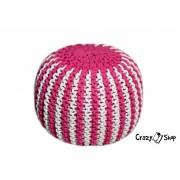 Pletený puf CRAZYSHOP TWIN, růžovo-bílá (ručně pletený)