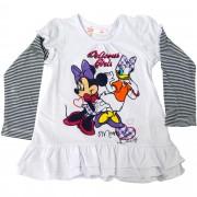 Rochita cu volanase Fox, imprimeu cu Minnie & Daisy, alba, pentru fetite