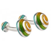 Mousie Bean Enamelled Cufflinks Swirl 066 Yellow & Turquoise