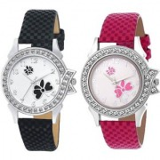 FancyLook Pink With Black Analog New Style Leather Belt Analog Watch For Women Combo Pack of 2 Watch