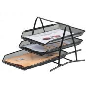 SET 3 TAVITE SUPRAPOZABILE, MESH negru A4 3 compartimente Tavite documente Plasa metalica