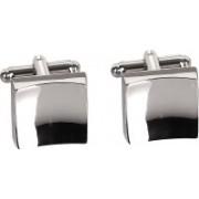 Bezel Brass Cufflink Set(Silver)