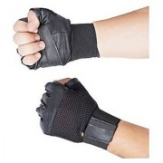Gym Gloves With Wrist Support (Black) (Leather) - Free Size (High Quality)