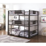 Triple Full/Double collection dark bronze metal triple full over full over full bunk beds