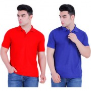 Stars Collection Men's Cotton Polo T- Shirt Comfortable and Stylish T-Shirts with Half Sleeves Red Navy Blue