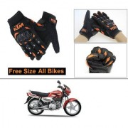 AutoStark Gloves KTM Bike Riding Gloves Orange and Black Riding Gloves Free Size For Hero Super Splendor