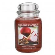 Village Candle Lumânare parfumată în mere de sticlă și scorțișoară (Apples & Cinnamon) 645 g