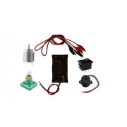 SCIENCE PROJECT KIT FOR SCHOOL STUDENT SCIENCE EXPERIMENT KITS SCIENCE KITS FOR KIDS FBTY01(FBELE) 5V, A BATTERY HOLDER, A MOTOR, A BUZZER, A BULB, A SWITCH AND TWO ALLIGATOR CLIPS.