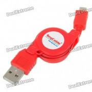 USB a Micro USB Cable de carga retractil para Nokia / Moto / Samsung / LG / HTC / Blackberry + Mas - Rojo