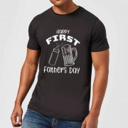 By IWOOT T-Shirt Homme Happy First Fathers Day - Noir - 4XL - Noir