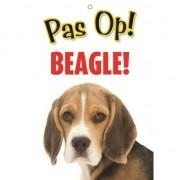 Merkloos Honden waakbord pas op Beagle 21 x 15 cm