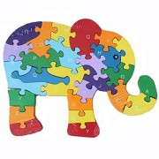EITC 26 Pcs Wooden Letters and Numbers Jigsaw Puzzles,Interactive Educational Children Learning for Kids Preschool Toddler Boy Girl Puzzle Toys,Gift Elephant